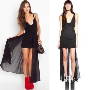 """UNIF """"Forget It"""" Mini/Maxi Chiffon Black Dress"""